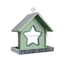 Green Wood Garden Bird Feeder with Star Shaped Apple Holder