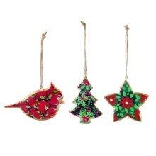 Set of Three Holly Print Hanging Christmas Tree Decorations