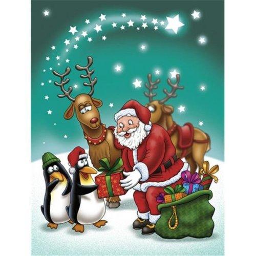 Carolines Treasures APH3872GF Santa Claus Christmas with the Penguins Flag Garden Size