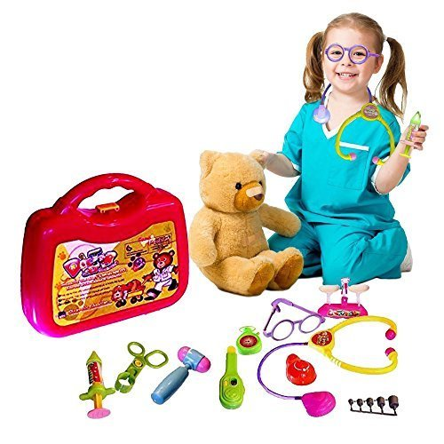 Pretend Play Doctor Set Superb Children s Medical 10 Piece Playset Including stethoscope thermometer Syringe Kit etc NEVER ENDING FUN