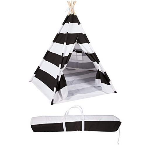 6 Canvas and Pine Wood Teepee With Carry Case - Playful Stripes - By Trademark Innovations (Black Stripes)
