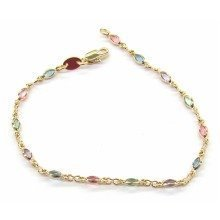 9ct Gold Filled Multicolored Gemstone Bracelet 19.5cm