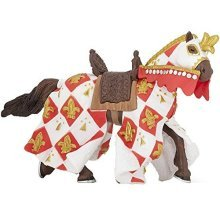 "Papo ""lilie Horse"" Figure (white) - White Horse Fleur De Lys Knight Toy Knights -  papo white horse fleur de lys knight toy knights draped new lily"