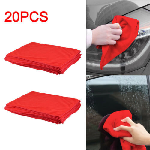 NEW RED CAR CLEANING DETAILING MICROFIBER SOFT POLISH CLOTHS TOWELS LINT FREE