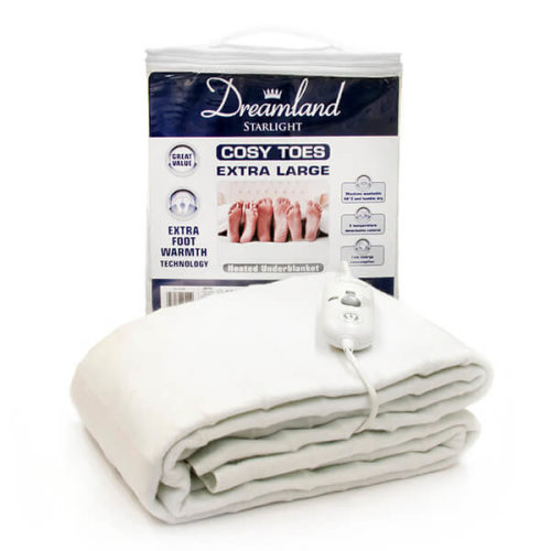 Dreamland 16157 Cosy Toes Extra Large King Size Under Blanket - White