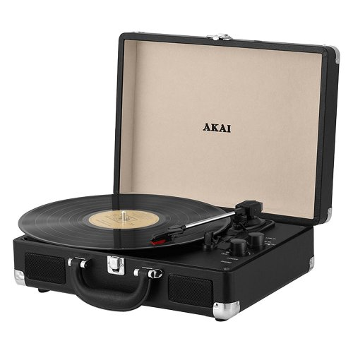 Akai A60011N Bluetooth Rechargeable Vinyl Turntable Briefcase Style Featuring Bluetooth Connectivity - Black