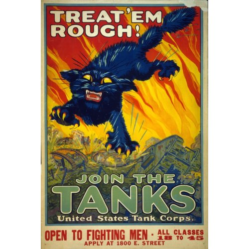 Advertising poster - Treat'em Rough! Join the Tanks - High definition printing on stainless steel plate
