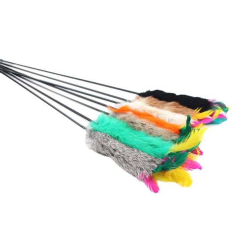 4 Sets Of Cat Toy Fake Artificial Fur Ball Funny Cat Stick Lever, Imitation Fur