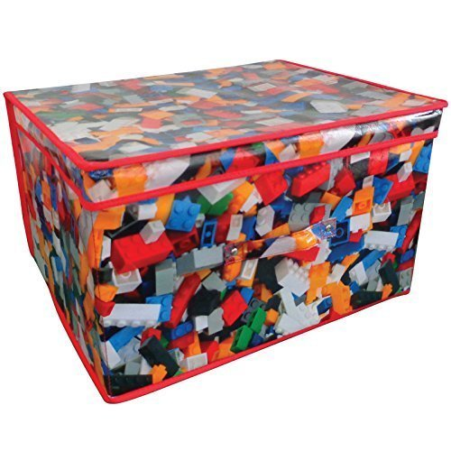 Folding Jumbo Toy Storage Chest 50 X 30 X 40cm Toy Brick Design - Bo Kids -  storage chest toy box kids childrens tidy jumbo design large clothes