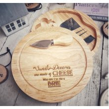 Engraved Cheeseboard Set Round Wooden Cheese Gift - 25cm