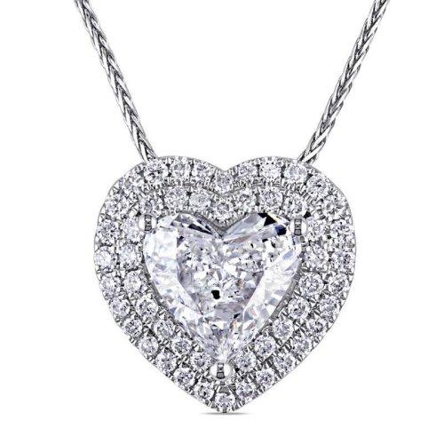 4.50 Carats Diamonds Heart Shape Pendant Necklace Gold 14K