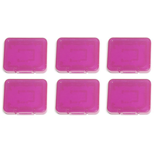 Individual tough plastic cases for SD SDHC SDXC & Micro SD memory cards semi transparent - 6 pack purple - Assecure
