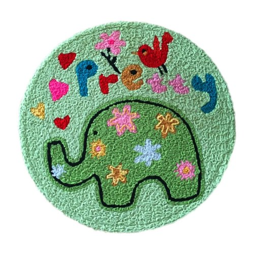 [Green Elephant] Children Bedroom Decor Rug Embroidered Mat Cartoon Carpet,23.62x23.62 inches