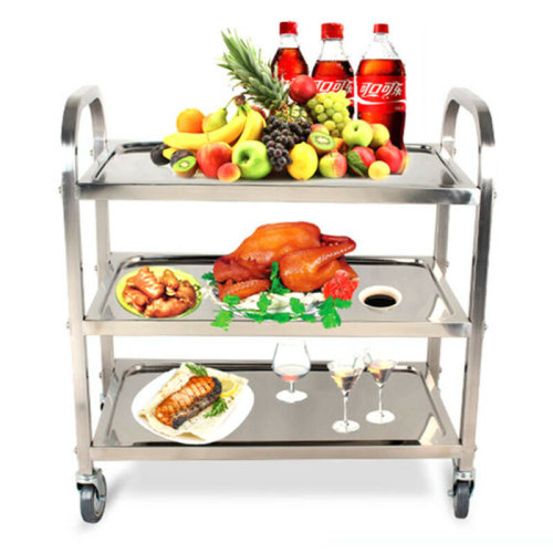 3 Tiers Stainless Steel Kitchen Island Rolling Utility Bar Serving Cart Trolley