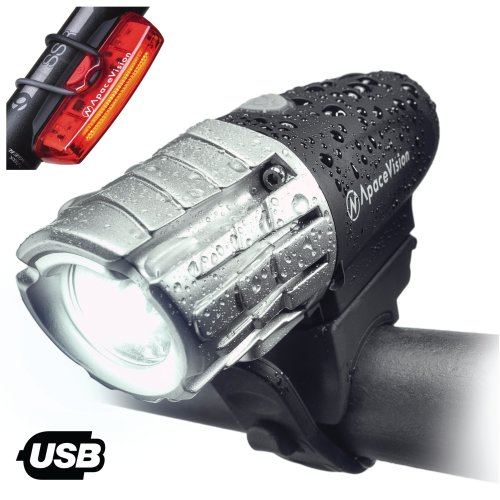 Eagle Eye USB Rechargeable Bike Light Set by Apace - Powerful 300 Lumens LED Bicycle Headlight and Tail Light - Super Bright Front Light & Rear...