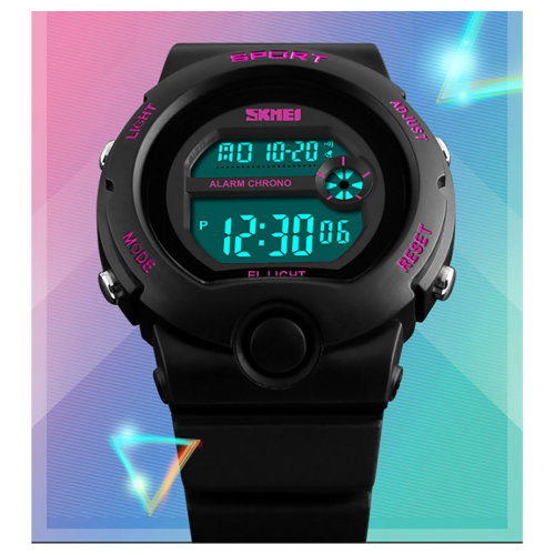 SKMEI Girls Boys Black Digital Watch 50m Water Resistant Stopwatch Alarm Perfect Ages 5-12 DG1334