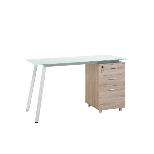 Home Desk 130 x 60 cm Light Wood and White MONTEVIDEO