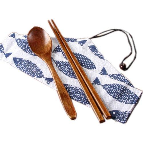 Japaness Kitchen Tableware Dinnerware Flatware Eco friendly Wood Cutlery Wooden Dinner Set #1