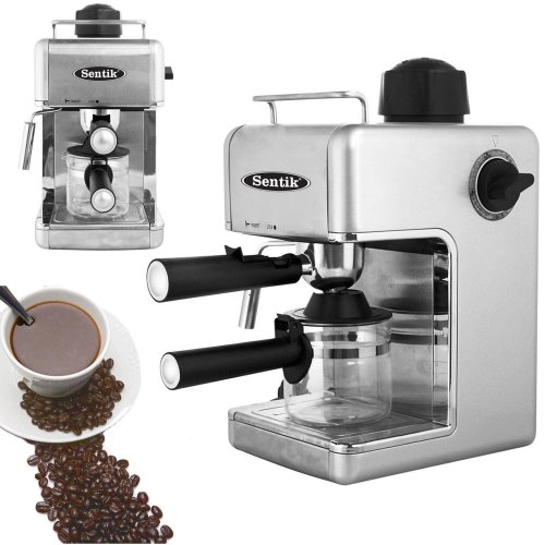Silver Espresso Cappuccino Latte Coffee Maker Machine Stainless Steel