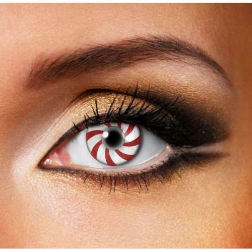Candy Cane Contact Lenses (Pair)- Halloween Contact Lenses
