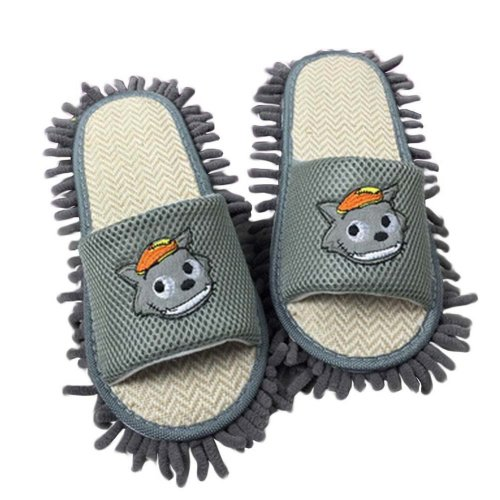 Creative Mop Slippers Floor Cleaning Slippers Mopping Shoes Grey