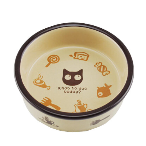 5-Inch Lovely Cartoon Circular Ceramic Cat Food Bowl,Pet Bowl (12.5*4cm)