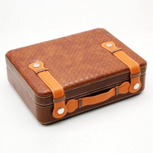 Cohiba Leather Travel Humidor Handbag Case Cedar Wood with Humidifier and Hygrometer