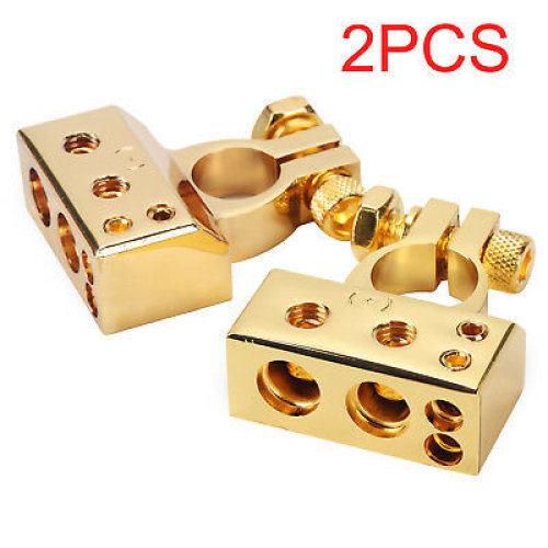Universal Car Truck Battery Terminal Clamp Clip Connector Alloy With Cover Gold