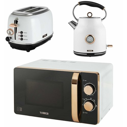 Tower WHITE Rose Gold MANUAL Microwave, 1.7L Quiet Boil Kettle & 2 Slice Toaster