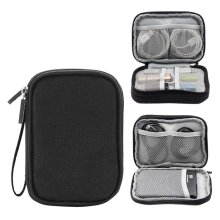 Double Layer High Capacity Headset Data Lines Protective Case-Black