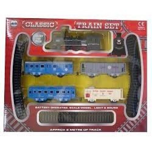 Classic Train Set 2m Track Engine Light & Sound Present - Boys Toy Battery Kids -  classic train set track boys toy 2m battery kids childrens engine