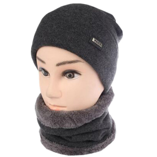 Grey Middle-aged Men's Winter Warm Cycling Keep Thick Hat Scarf Set