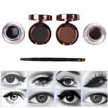 3Pcs/Set Waterproof Eyebrow Powder Eyeliner Gel Set With Definer Brush Mirror Kit