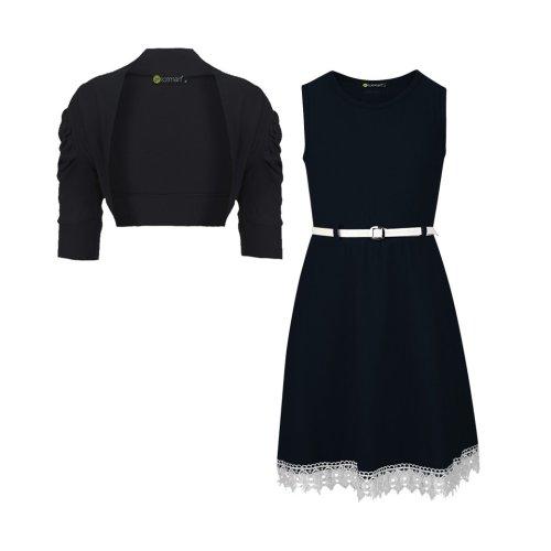 Girls Belted Dress Bundle with Cropped Shrug
