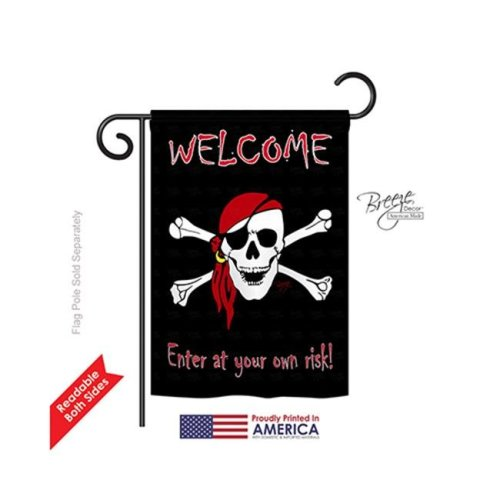 Breeze Decor 57045 Pirate Enter at your own risk 2-Sided Impression Garden Flag - 13 x 18.5 in.