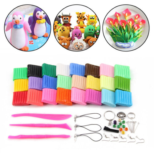 Convenient Oven Bake Polymer Clay Block Modelling Moulding Tool Set 24 Colour