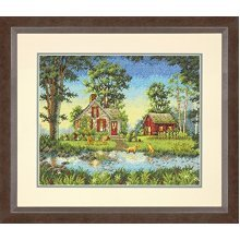 Dimensions Summer Cottage Gold Collection Counted Cross Stitch Kit, Multi-colour -  dimensions counted cross stitch summer cottage new free delivery
