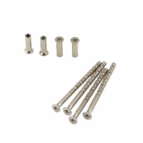 4 Piece Universal M4 Screw Connecting Bolts & Sleeves for Door Handle Roses and ESCUTCHEONS Nickel Color