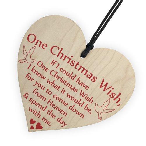 RED OCEAN One Christmas Wish Tree Memorial Heaven Gift Memory Hanging Plaque Bauble Keepsake Sign