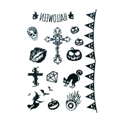 Set of 4 Fake Scar Stickers Temporary Tattoos Body Art for Halloween Cosplay [J]