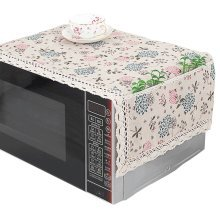 Pastoral Style Microwave Oven Dustproof Cover Dust Cover with Pockets Flowers