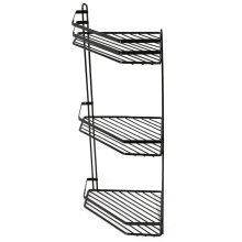 3-Tier Black Wall-Mounted Shower Caddy | Rustproof Corner Shower Basket