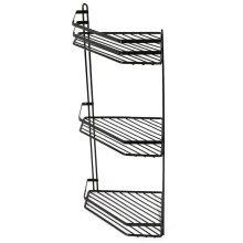 3-Tier Black Wall-Mounted Shower Caddy   Rustproof Corner Shower Basket