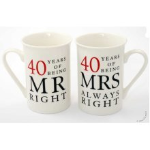 40th Ruby Wedding Anniversary Mugs Gift Set WG67740