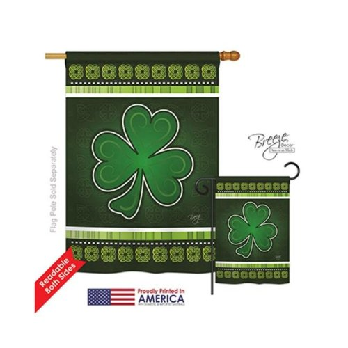 Breeze Decor 02026 St Pats Shamrock 2-Sided Vertical Impression House Flag - 28 x 40 in.
