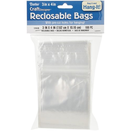 "Darice Reclosable Bags W/Hole For Hanging 100/Pkg-3""X4"" Clear"
