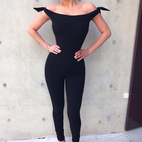 Women sexy Jumpsuits Slash Neck Off The Shoulder Jumpsuit Rompers  Tie Bow One Piece Long Pants WS5461E