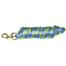 """Hamilton Poly Lead with Bolt Snap, Berry Blue/Lime Green Striped Pattern, 5/8"""" Thick x 10' Long"""