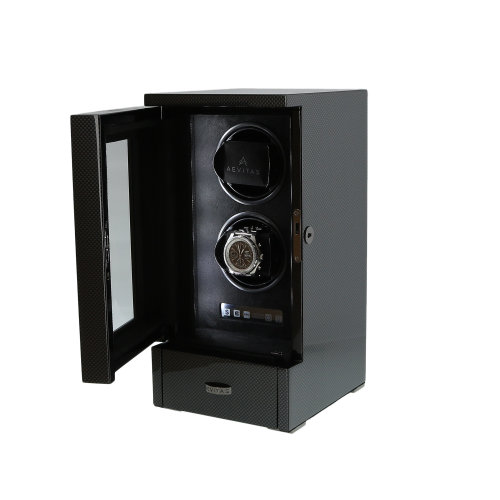 DUAL WATCH WINDER CARBON FIBRE FINISH TOWER SERIES BY AEVITAS