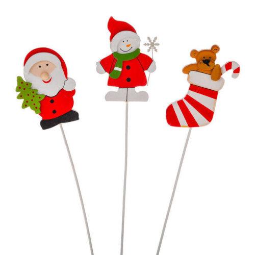 Pack of 3 Assorted Christmas Picks - Santa, Snowman & Stocking - Decorations